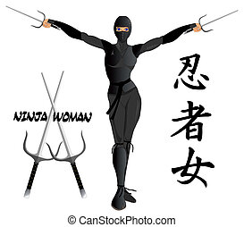 Woman ninja armed with two sais
