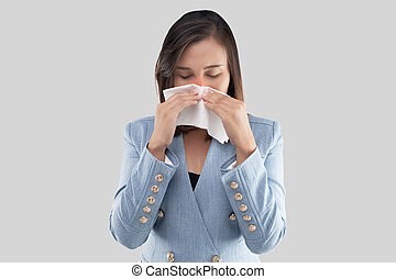 Woman nose burning sensation because of the dust in the ai