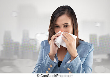 Woman nose burning sensation because of the toxic smoke