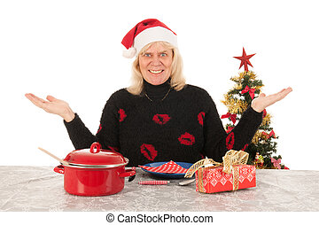 Woman of mature age happy alone with Christmas