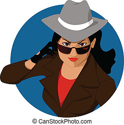 Young woman in a man's hat, trench coat and sunglasses, posing as a secret agent or a spy, vector cartoon