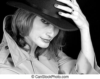 Woman Of Shadows BW - A beautiful woman dressed as a secret...