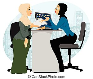 Vector illustration of a woman offer contract