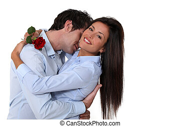 Woman offered rose by husband