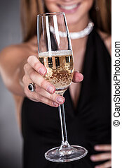 Woman Offering Champagne