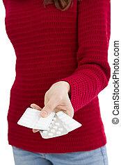 Woman offering meds