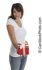 Woman offers a present
