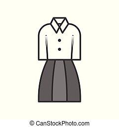 woman office uniform, filled color outline editable stroke