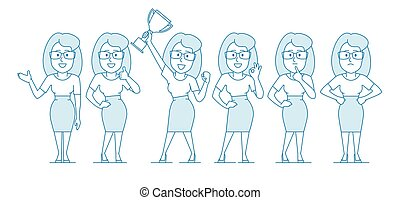 Woman office worker in various poses. Character - woman with...