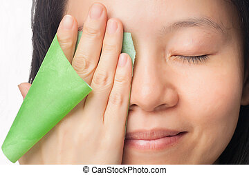 Woman oily skin - Woman face with oily skin removing oil