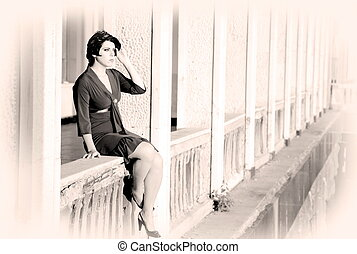 Woman On A Balcony. Retrospective Review. 20-s  XX Century.