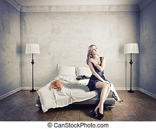 woman  on a bed