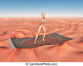 Woman on a flying carpet over a desert