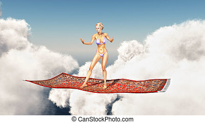 Woman on a flying carpet over the clouds