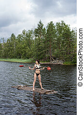 woman on a raft