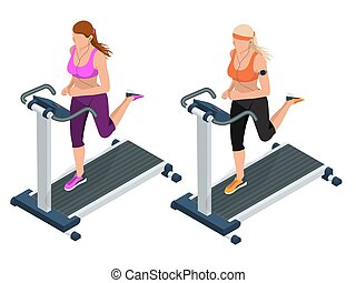 Woman on a running simulator. Pretty girl working out in a treadmill at the gym. Treadmill.  Flat 3d vector isometric illustration.