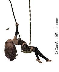 Woman On A Swing - Woman swinging on a swing