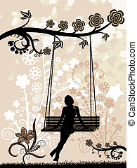 Vector illustration - silhouette of a woman sitting on a swing. Stylized silhouettes of flowers.