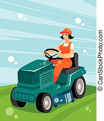 Woman on a tractor