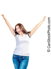 woman on a white background with hands up