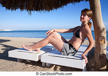 woman on a wooden deck