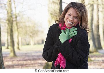Woman On Autumn Walk