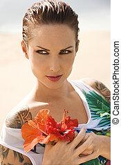 Woman on beach.