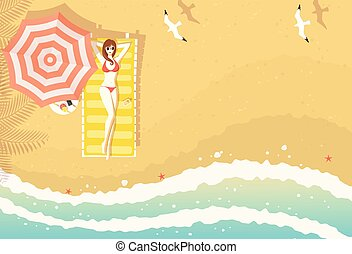 Woman on beach lounger top view