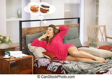 woman on bed and her dream of eating