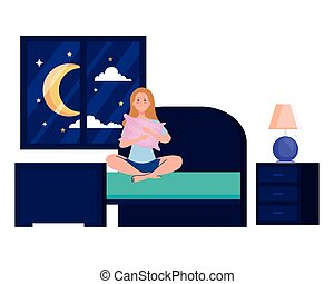 woman on bed with insomnia vector design