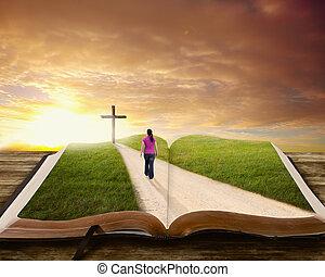 Woman on Bible.