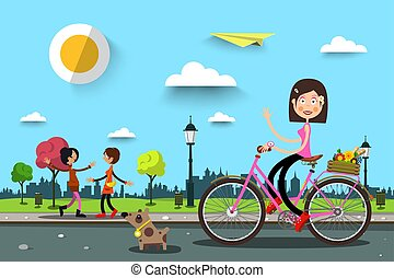 Woman on Bicycle in City Park with Women on Background. Vector Healthy Life in Spring Town.