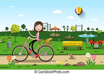 Woman on Bicycle in City Prak with Playground on Background - Vector