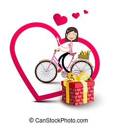 Woman on Bicycle Inside Big Heart with Gift Box and Small Hearts