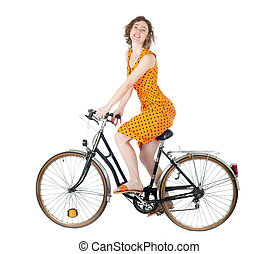 woman on bicycle - happy young woman riding bicycle isolated...