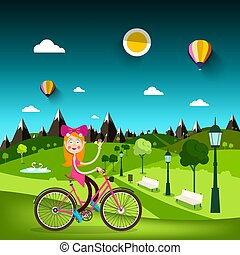 Woman on Bicycle with Meadow on Background. Pretty Girl on Bike in City Park. Vector Nature Landscape.