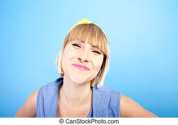 woman on blue background