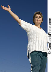 woman on blue sky