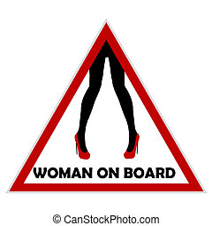 Woman on board driving sign