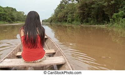Woman On Boat On Amazon River - Shipping On Amazon River
