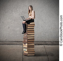 Woman on books