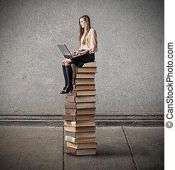 Woman on books
