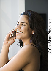 Woman on cell phone.