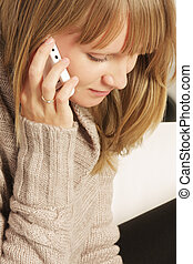 Woman on cellphone closeup
