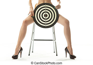 Woman on chair with shooting target