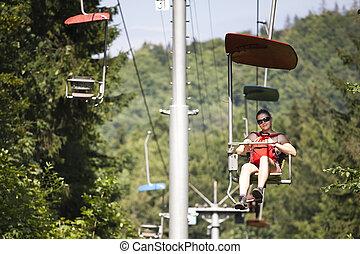 woman on chairlift in Dedinky, Slovak Paradise