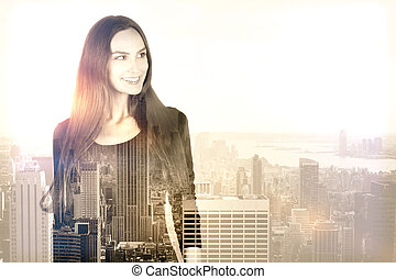 Woman on city background