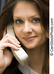 Woman on Cordless Phone Close-up