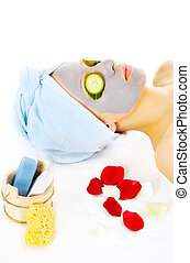 Woman on cosmetic treatmant with mask