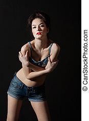 woman on dark background